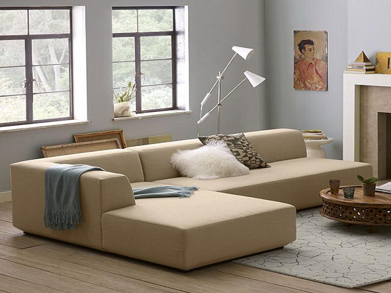 Apartment Sectional Sofas In Modern Design With Chaise Featuring Standing Floor Lamp And Wooden Coffee Table
