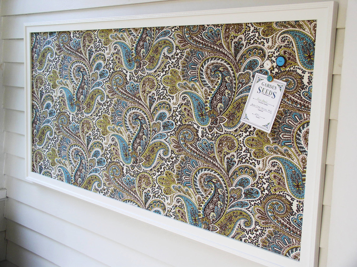 Ealing Handmade Decorative Magnetic Board With Stunning Patterned Fabric Plus Wooden Framed Mounted On The Wall
