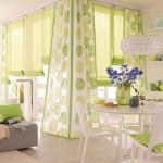 astonishing green kitchen design with green polka dot curtain idea and white green dining set and wooden floor