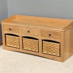 astonishing small bench with storage with three drawers and baskets decorated in the corner of the room