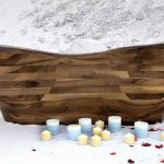 astonishing wooden bathtub idea with natural tone in the bathroom with white color with candles
