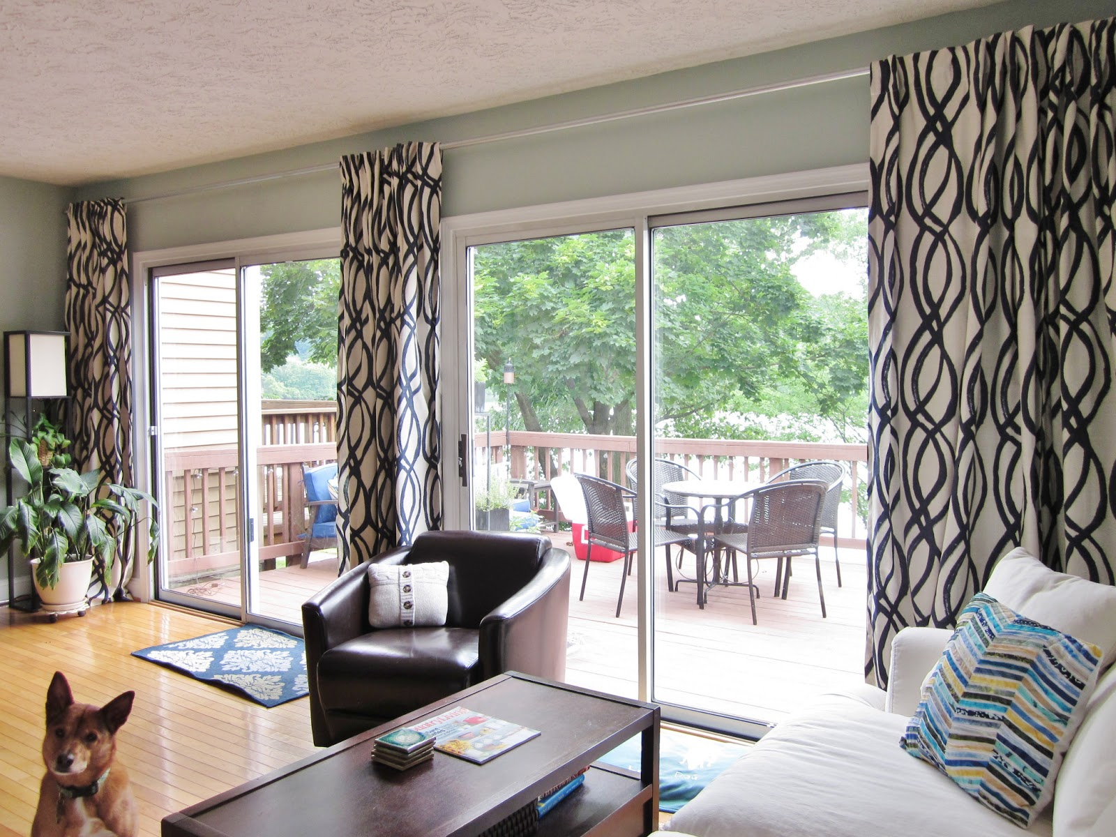 Awesome Extra Long Curtain Rods For Sliding Gl Door With Wooden Laminate Floor And Coffee