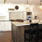 awesome looking kitchen ideas with kashmir white granite countertops and white wooden cabinets and black wooden bar stool decorated on kitchen island