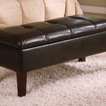 awesome looking leather bed ottoman bench with storage beneath together with soft furry rug for simple bedroom ideas
