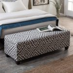 awesome printed upholstered bed ottoman bench with storage with comfy bed and rustic wood flooring and brown rug