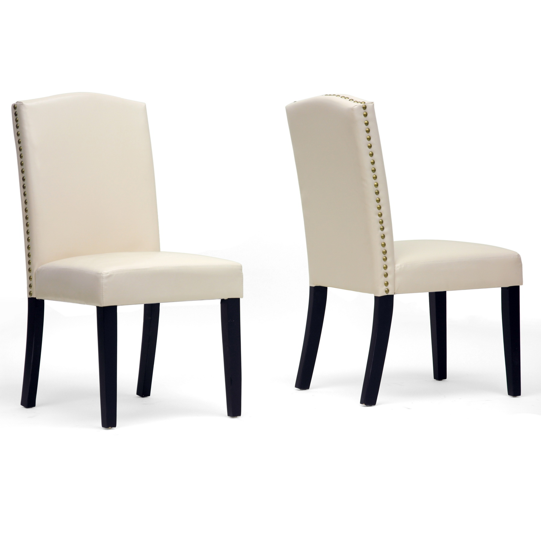 Awesome White Upholstered Leather Dining Chair Adorned With Nailheads For Striking Home Ideas