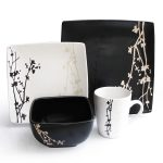 beautiful black and white dinnerware idea with japanese style of floral pattern