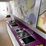 beautiful purple kitchen fashion trend 2015 with unique color combination of white purple cabinet and wallpaper