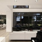best and lavish interior design with black mirrored side wall and white seating design and concrete wall and wooden floor