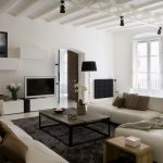 best apartment sectional sofa idea in white color with black framed coffee table and black area rug and low ceiling