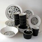 best black and white dinnerware design with tropical pattern and solid black tone