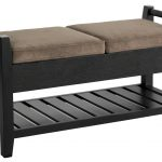 best classic bed ottoman bench design with black wooden frame and creamy velvet bolster