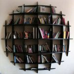 best cool bookshelves idea in black color mounted on the wall with cane style
