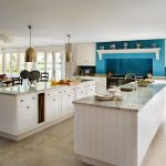 best kitchen collection idea in white color with turquoise accent and open plan with double islands and tile flooring idea