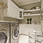 best laundry room shelf idea with wall racks and metal framed hamper and double washing machine and floating cabinet