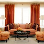 Best Orange Extra Long Curtain Rods With Golden Rods Featuring Orange Comfortable Sofa And Armchairs Plus Unique Coffee Table And Ivory Rug Plus Stunning End Table