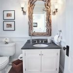 Best Trend Of Bathroom Decortaion With White Simple Vanity And Root Framed Wall Mirror And Wall Lamps And Single Recessed Sink And Wooden Floor
