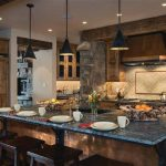 best wooden house interior design with black marble kitchen bar top and black wooden stools and black vault pendants