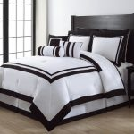 black and white comforter sets king made of high quality fabric featuring black bed end table plus light wooden floor for lovely bedroom ideas