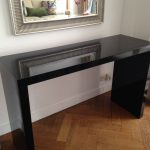 black console tables ikea in contemporary design together with awesome wooden floor and framed mirror on wall decoration