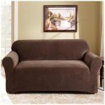 brown love seat slip covers with pictures on wall decoration for cozy family room together with soft patterned rug
