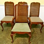 cane back dining chair made of solid chery wood in brown finish plus admirable upholstery