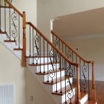 charming wrought iron stair railings interior in combination of wood on its edge for inviting home ideas
