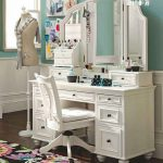 classic white vintage dressing table with adorable open style mirror and storage and white swivel chair