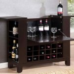 compact and small home bar ikea design with wine rakcs and foldable table on creamy wooden floor