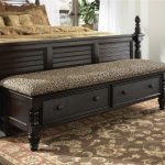 dark finish bed ottoman bench with two storage beneath plus leopard upholstery together with brown patterned rug and wooden bed frame
