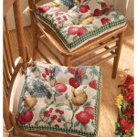 dining room seat cushion with fruity pattern in colorful style on wooden chairs and flooring