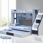 distinctive and modern trundle beds with stairs and shelving units decorated in blue scheme featuring drawers and cute rug