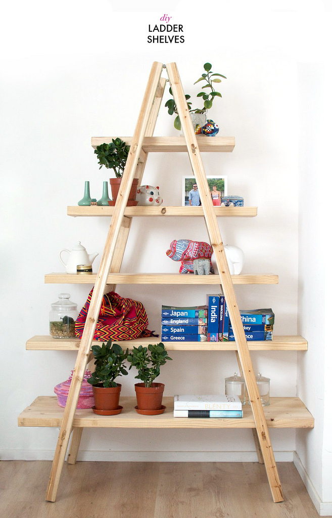 Lighting Basement Washroom Stairs: Outstanding Storage Ideas With A Ladder Shelving Unit