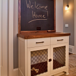 Dog Crate Console From Cabinet In The Hallway With Chalkboard Above And Made Of Wood With Light Color And With Two Doors