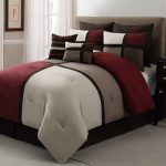 duke burgandy brown red and white california king bed comforter sets consisting of seven pieces and traditional nightstand with drawers and modern rug