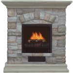electric-fireplace-with-mantel-and-faux-stone-and-multicolor-stone-facade-features-3D-log-flame-motion-effect-with-two-level-options-of-heater-and-poystone-mantel
