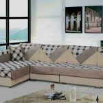 elegant creamy  slip cover for sectional design with burberry pattern and creamy area rug and glass window