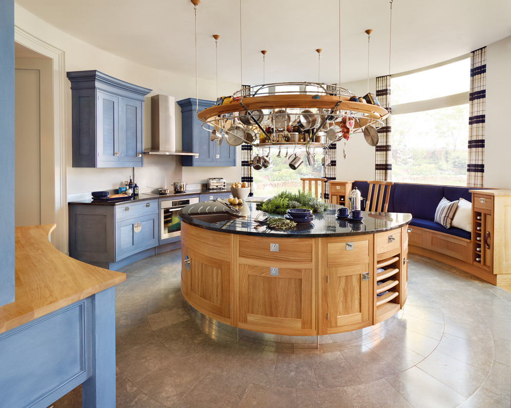 Elegant Round Kitchen Design With Gl Window And Island Pantry Shelving System Tile