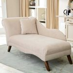 elegant white small chaise lounge design with backrest and cushion and tile flooring