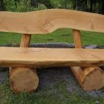 elegant wooden bench log design with backrest in the outdoor living space