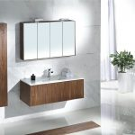 elegant wooden image of bathroom vanity idea with tower and four foldable wall mirror and indoor plants and bench