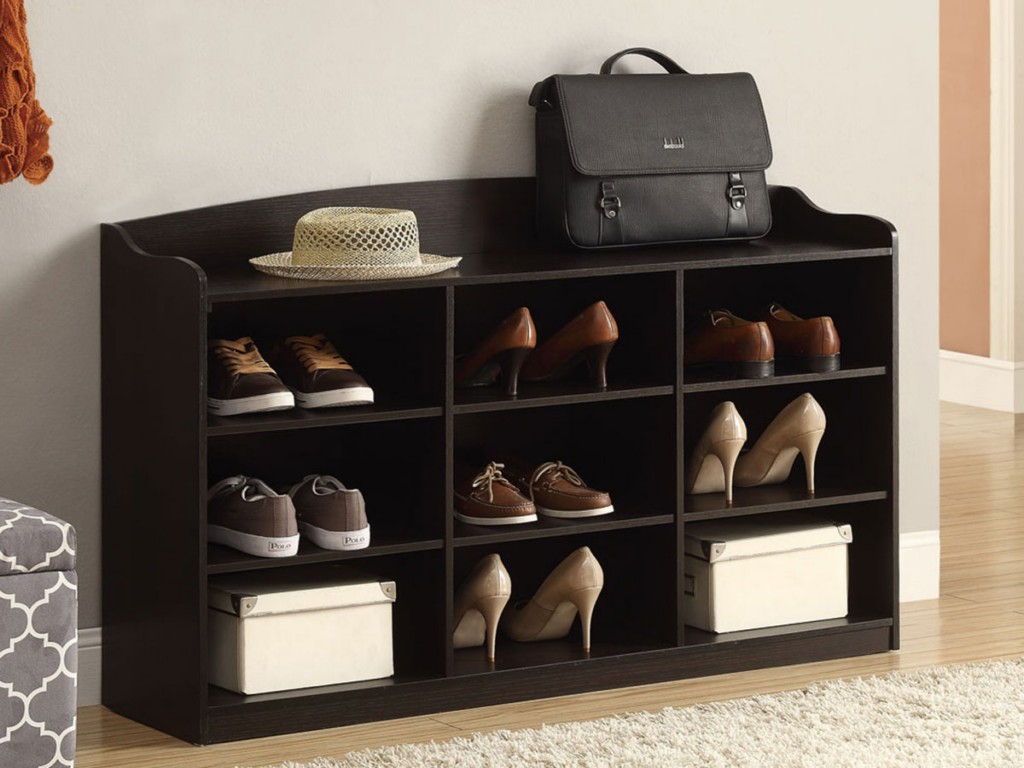 Entryway Shoes Storage Idea Made Of Black Stained Wood
