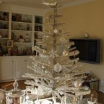 Exciting Silver And White Tabletop Christmas Tree Decoration With White Ornaments Brightening The Living Room
