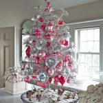 Exciting Silver And White Tabletop Christmas Tree Decorations Combined With Pink And Red Ornaments And Reindeer Miniature Under The Tree Placed Near Window