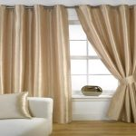 Extra Long Curtain Rods For Windows Plus White Sofa And Golden Cushions And Wooden Laminated Floor