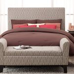 Fascinating Bed Ottoman Bench With Interesting Motif And Wood Leg Plus Grey Rug For Stunning Bedroom