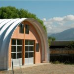 fascinating quonset hut homes painted in orange and white roof and glass door