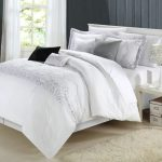fascinating white comforter sets king with ivory rug and simple night table plus decorative table lamp