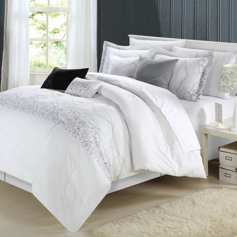 white bed set get alluring visage by displaying a white comforter sets 13815