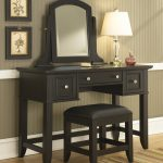firm black vanity stool idea with leather bolster and wooden vanity design and mirror